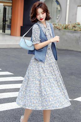 Z21XL8101时尚套装裙韩版碎花连衣裙