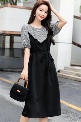 Z20XL067轻熟风假两件短袖连衣裙女夏洋气泡泡袖系带收腰显瘦裙女