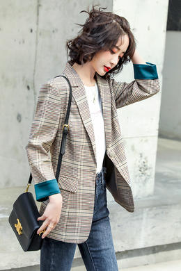 Z21CW8005格子西装外套女韩版短款春秋西服女
