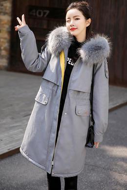 DY19170冬季新款韩版大毛领派克服女收腰中长款PU棉服