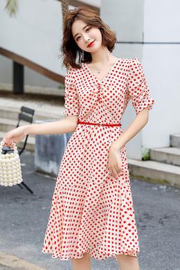 Z20XL085V领时尚感轻熟风A字裙印花皮带收腰显瘦真丝连衣裙