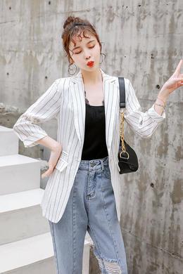 Z19CW018新款韩版小香风职业装中袖小西装春秋条纹女外套