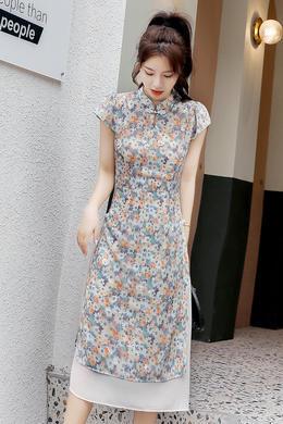 Z20XL080旗袍改良版新款夏装年轻中国风雪纺碎花连衣裙中长裙女