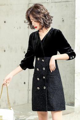 Z21CL8001法式金丝绒拼接粗花呢连衣裙气质v领小香风黑色显瘦裙潮