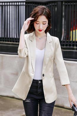 Z20QF110夏新款银丝条纹七分袖西装韩版时尚修身小香风薄款外套