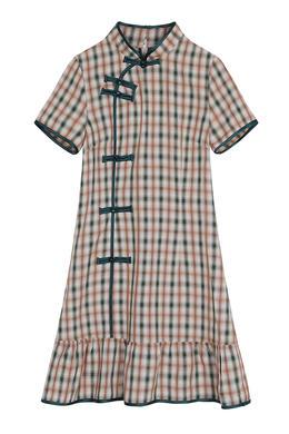 Z20XL076夏装短袖女士旗袍中国风盘扣改良日常清新格子旗袍连衣裙