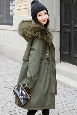 DY19132冬装新款时尚后背绣花连帽貉子毛领兔毛内衣皮棉衣外套