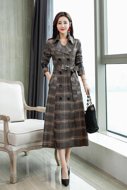 Z18QF013秋新款格子风衣女韩范潮流双排扣翻领长袖系带收腰中长款外套