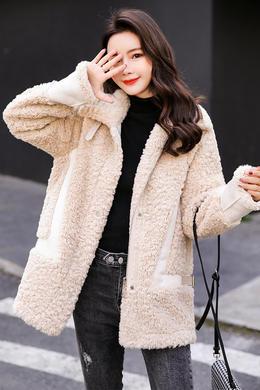 Z19QW987皮毛一体羊羔毛外套女韩版宽松秋冬新短款立领颗粒绒
