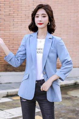 Z20QF109夏新款七分袖短款西服时尚气质薄款职业修身外套