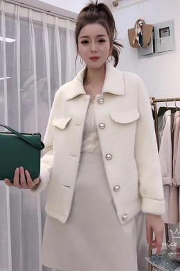 Z19QW978韩版新款小香风毛绒皮毛一体外套时尚百搭洋气女装