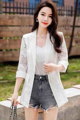 Z20CF008新款蕾丝镂空小西装外套女韩版春夏气质收腰百搭修身外套