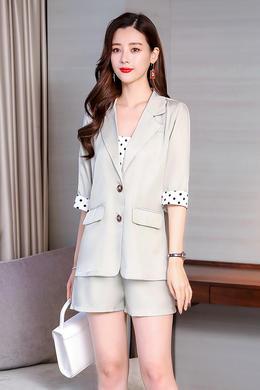 Z19XT020小西装三件套韩版时尚洋气波点袖宽松外套显瘦短裤套装潮