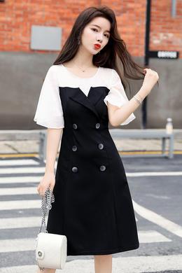 Z20XL061夏新款法式复古雪纺连衣裙女装收腰显瘦气质森系黑色裙子
