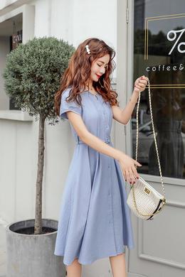 Z19XT032-1韩版夏薄款小清新圆领高腰学院风中长裙钉珠A字裙女装