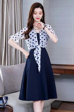 Z19XT029中长款吊带连衣裙女春夏新品高腰气质波点雪纺时尚套装