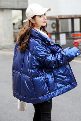 DY19178冬新款时尚韩版羽绒服宽松爆款亮面短款外套