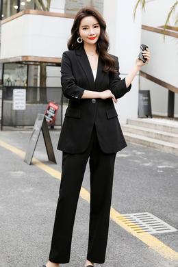 Z20CT001春新款小西装女韩版气质洋气时尚九分袖上衣休闲职业套装