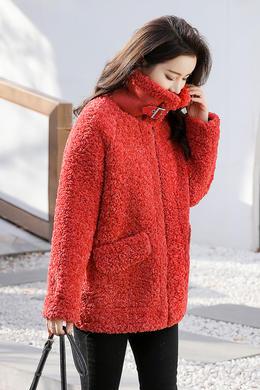 Z19QW993冬季新款翻领短款皮毛一体宽松休闲洋气时尚外套
