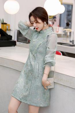 Z20CL001早春新款洋气女裙高腰重工蕾丝拼接气质显瘦立领连衣裙女