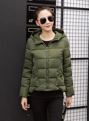 Z16DM8628短款冬季韩版棉服女军绿色