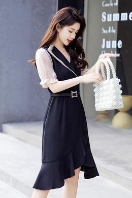 Z20XL026新款春夏晚礼服裙女韩版短袖V领收腰显瘦气质名媛连衣裙