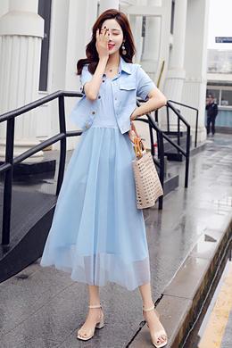 Z19XT031连衣裙女夏新长款套装长裙流行夏天气质显瘦两件套裙子