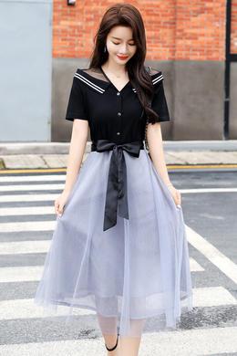 Z20XL068夏新款收腰显瘦气质镂空女神范时尚过膝流行网纱裙子
