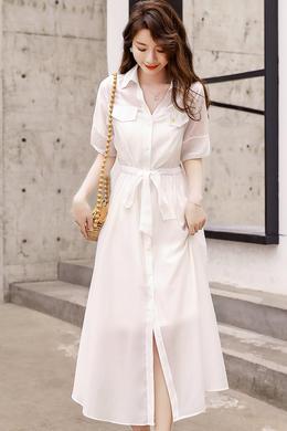 Z20XT020新韩版中长款赫本衬衫裙气质收腰显瘦吊带两件套连衣裙