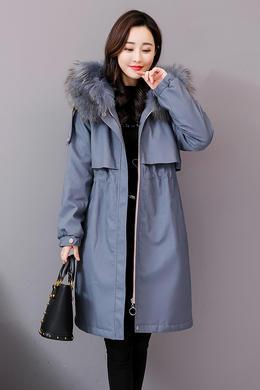 Z18DM137冬装新款时尚宽松连帽貉子毛兔毛内衣皮棉衣