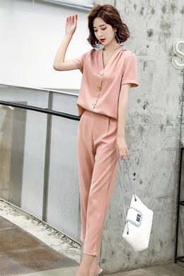 Z20XT070夏新年轻时尚洋气套装V领连体显瘦气质减龄森女人气薄款