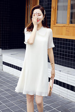 Z19XT032蝴蝶结雪纺裙夏装连衣裙大码新款宽松韩版中长款百褶裙女