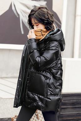 Z20DY936冬加厚亮面免洗羽绒服女宽松连帽保暖白鸭绒外套