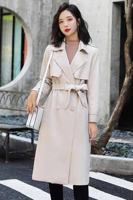 秋季新款长袖收腰系带纯色印花麂皮绒中长款风衣外套女