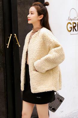 Z19QW982韩版短款羊羔毛圆领外套女皮毛一体百搭毛绒颗粒2019秋冬新款