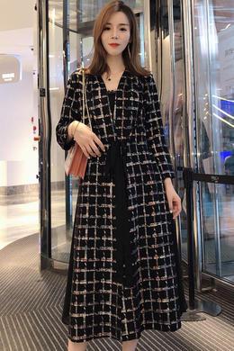 2019秋女士外套流行麂皮绒韩版显瘦时髦系带拼接格子过膝风衣