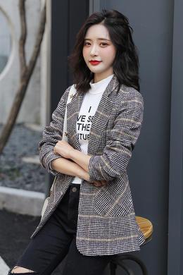 2019新款格子西装外套女修身显瘦格子毛呢外套英伦风小西装