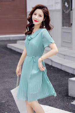 Z19XT035雪纺连衣裙女欧根纱荷叶领收腰a字裙减龄显瘦百褶雪纺裙