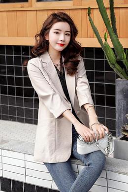 Z19CW007-8春外套女百搭七分袖韩版短款西服中袖小西装女休闲上衣