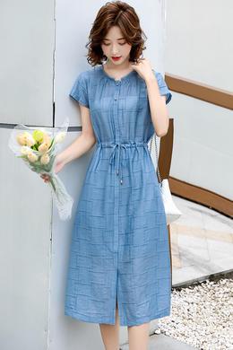 Z20XL089轻熟风天丝连衣裙气质抽绳收腰显瘦洋气减龄显瘦连衣裙