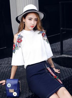 Z17XT503白色露肩短袖雪纺衫套装女高腰A字半身裙包臀裙两件套