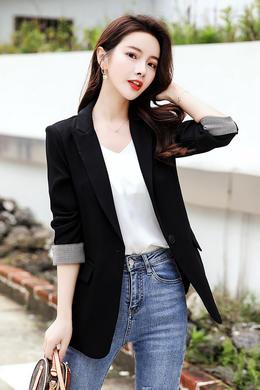 Z20CW002春装新款气质小众西装外套女休闲翻袖网红修身小西服