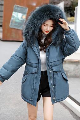 DY19179羽绒服女冬中长款收腰显瘦小个子超大真毛领白鸭绒潮外套