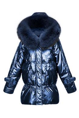 DY19173亮面羽绒服女冬新款韩版连帽时尚狐狸毛大毛领中长款保暖外套