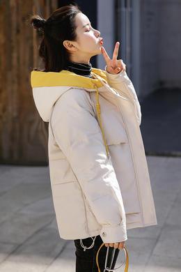 Z19QM973羽绒棉服新款坎肩长袖立领宽松面包服外穿时尚短款外套