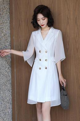 Z20XL060夏新款女装网红气质韩版修身显瘦双排扣黑色西装连衣裙
