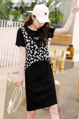 Z20XQ025夏装新款女装韩版圆领宽松气质小雏菊打底假两件连衣裙