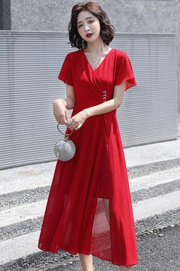 Z20XL058夏新款波西米亚沙滩长裙开叉显瘦雪纺红色抖音网红连衣裙