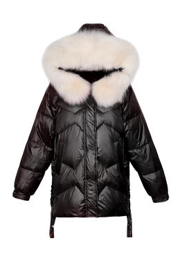 DY19182亮面羽绒服短款冬新款爆款大毛领韩版宽松加厚白鸭绒外套