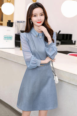 Z20CL003早春新款韩版时尚中长款洋气女裙大码显瘦拼接连衣裙